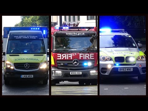 Fire trucks, Police cars and Ambulances responding - BEST OF MAY 2017 - Siren, horn & action
