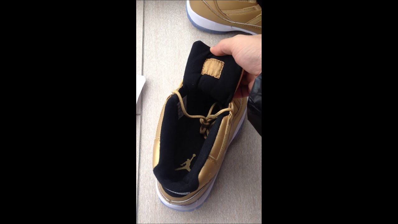 Nike air jordan 11s all gold sample gold shoes Jerseychinese@vip.sina.com