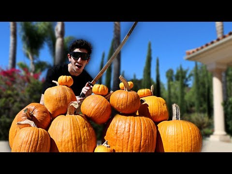 REAL LIFE FRUIT NINJA VS PUMPKINS!! *GONE WRONG* | FaZe Rug
