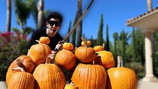real life fruit ninja vs pumpkins gone wrong