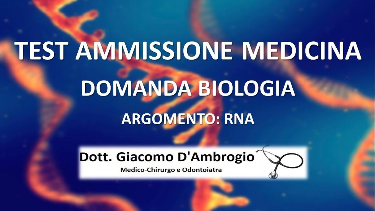 Domanda RNA Test Medicina Università Cattolica
