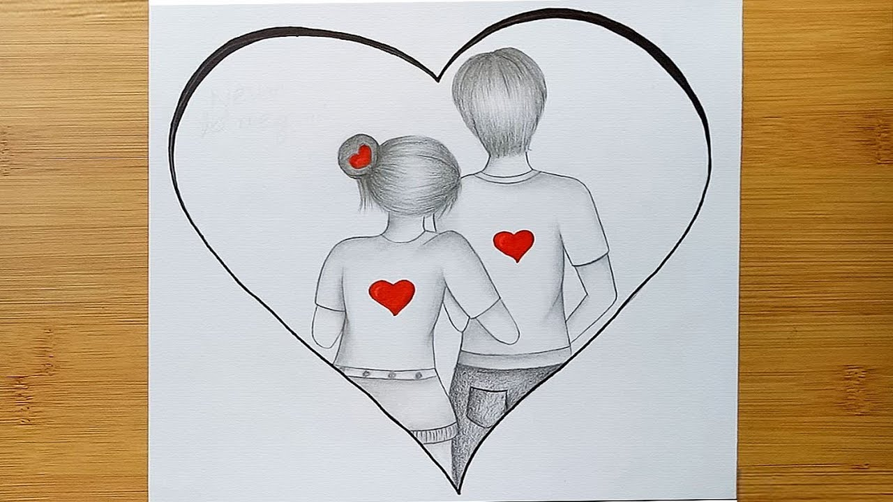 Romantic Couple Drawing How To Draw A Cute Couple Hugging Step By Step Youtube
