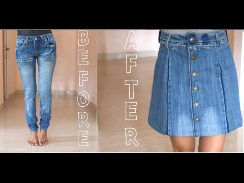 DIY Turn Your Old Jeans Into Skirt - YouTube