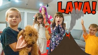 Princess Lollipop PLAYS The Floor is Lava Kid Game with twins Kate and Lilly!