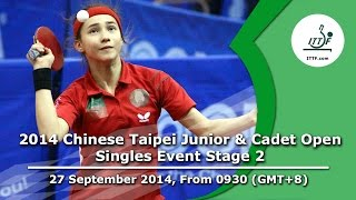 Table Tennis: 2014 Chinese Taipei Junior & Cadet Open (Singles Event Stage 2)