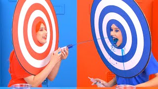 RED FOOD vs BLUE FOOD FIGHT CHALLENGE! Last To Stop Eating WINS! By Kaboom!