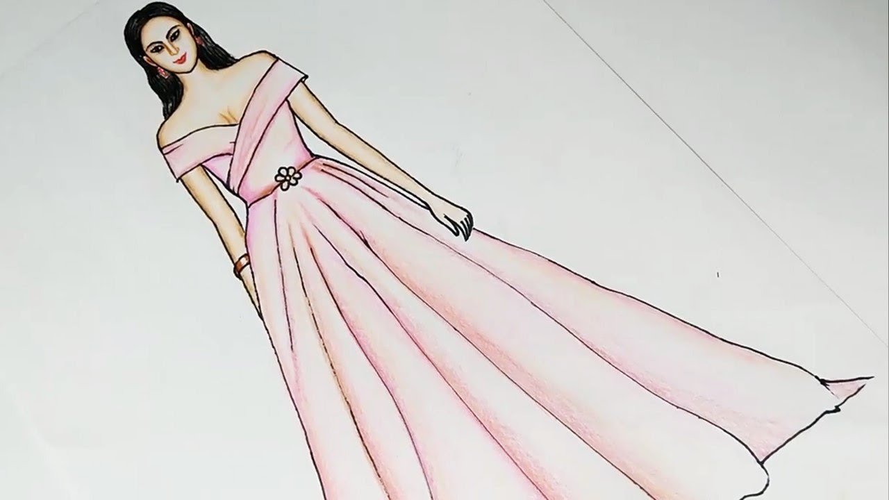 Simple Dress Drawing For Beginners Fashion Illustration Art Youtube