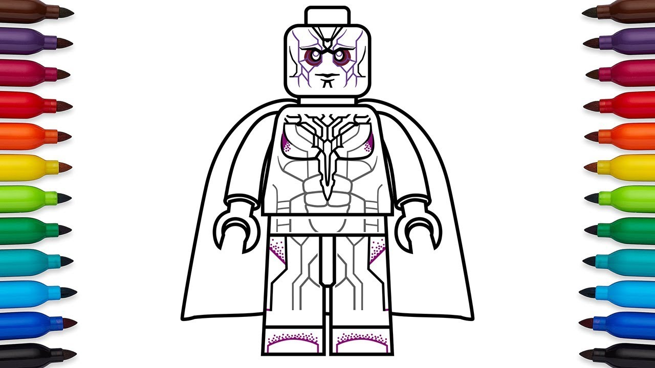 How to draw lego vision from marvels avengers age of ultron and captain america civil war