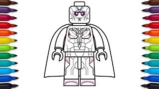 How to draw Lego Vision from Marvel
