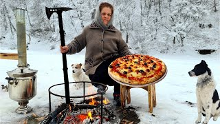 Cooking Campfire Pizza on The Sadj Grill, The Best Pizza You'll Ever Eat