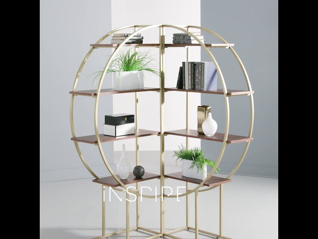 Diana Natural Finish Gold Metal Half Moon Bookcase by iNSPIRE Q Modern