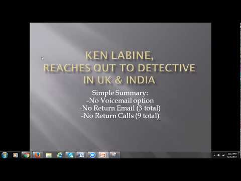 Ken Labine, Reaches out to Detective Kieron Vaughan in The UK & To India/Mumbai Investigator