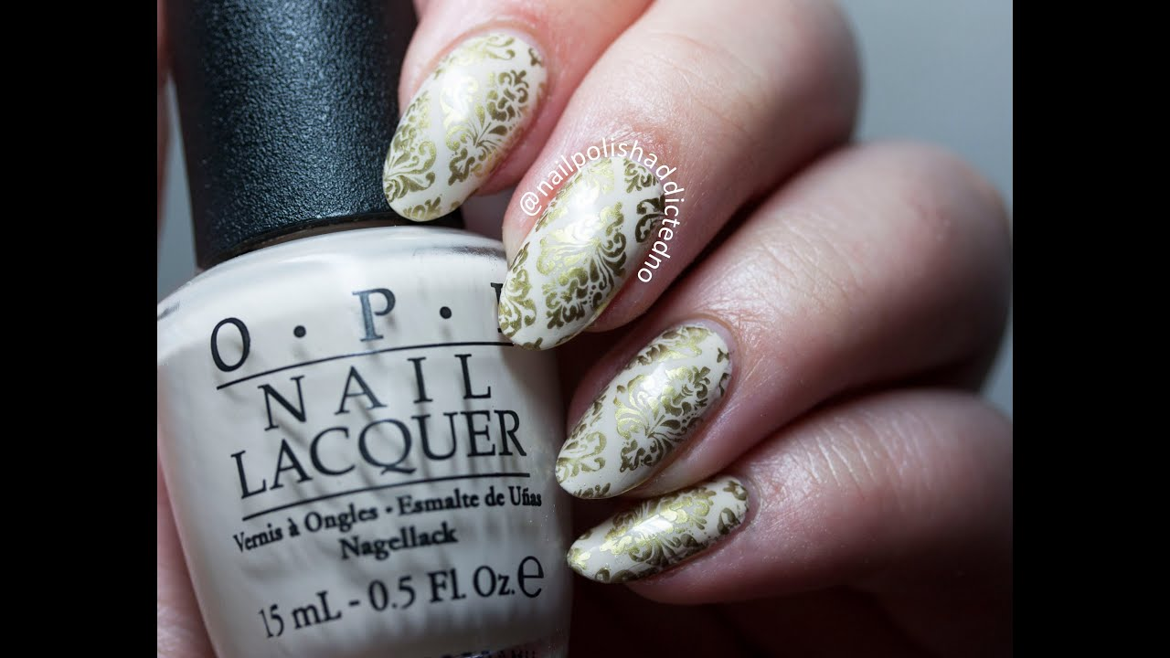 Golden Damask Nails Stamping Nail Art Tutorial By