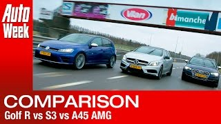 VW Golf R vs. Audi S3 vs. Mercedes A45 AMG - English subtitled