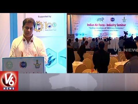 Minister KTR Speech At Indian Air Force - Industry Seminar | ITC Kakatiya | V6 News