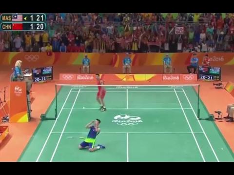 Final 3 mins highlight of Rio Olympic 2016 SemiFinal [LEE CHONG WEI vs LIN DAN] 经典 林李大战 里約奥运2016