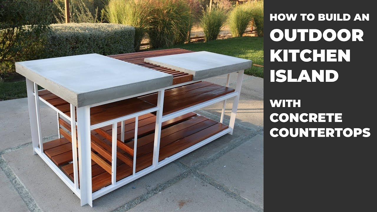 Building An Outdoor Kitchen Island With Diy Concrete Countertops