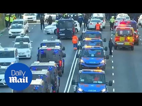 Spanish Police Clears Protesting Taxis Blocking Roads In Madrid