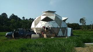 Working on seams of 12 meter dome