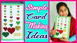 Simple and beautiful Handmade Happy New Year 2019 Card Idea , How to make card (For Kids)