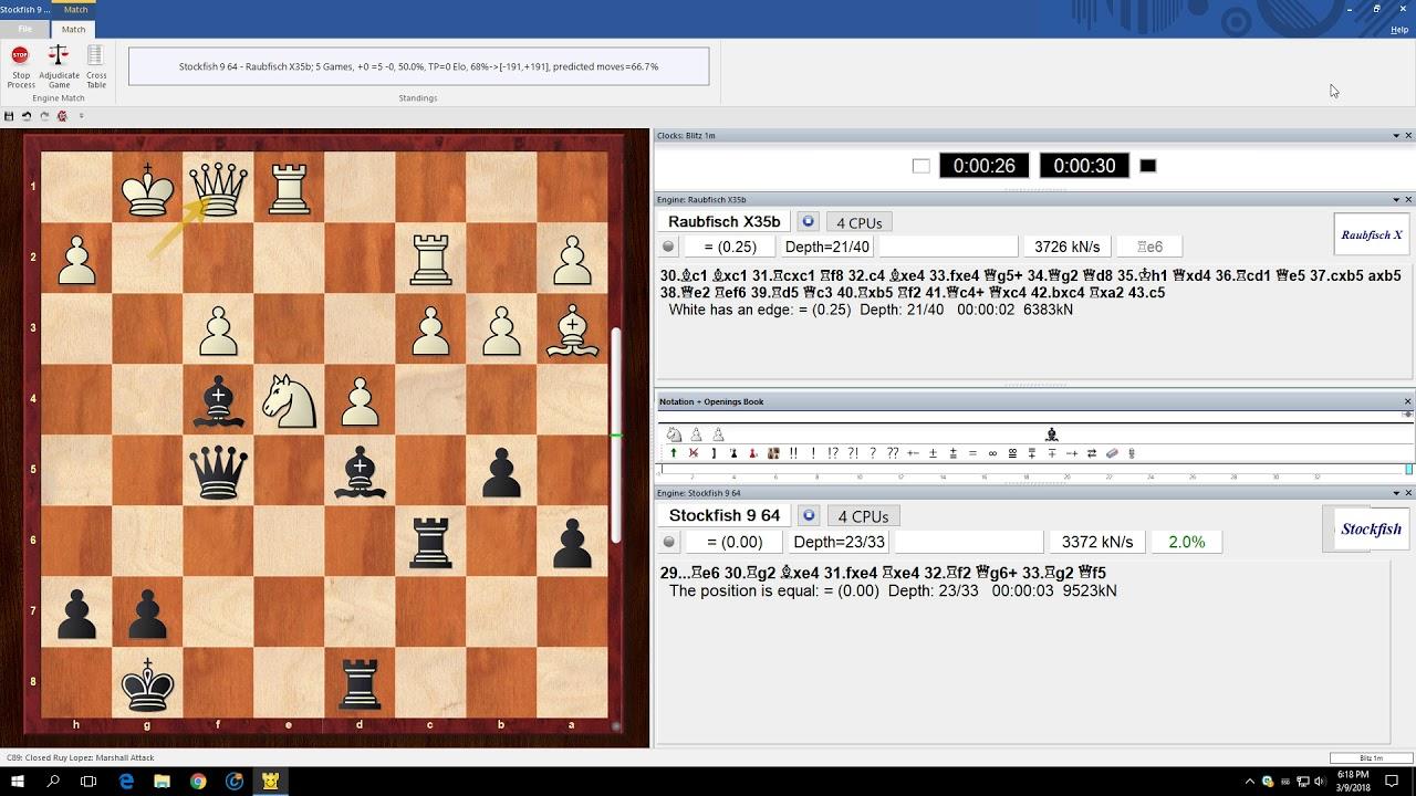 Stockfish 9 vs  Raubfisch X35b (20 games +4 =16 -0)