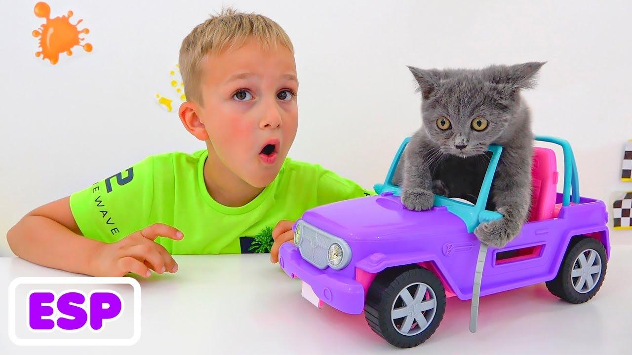 Una historia divertida sobre Vlad y Niki juegan con gatitos