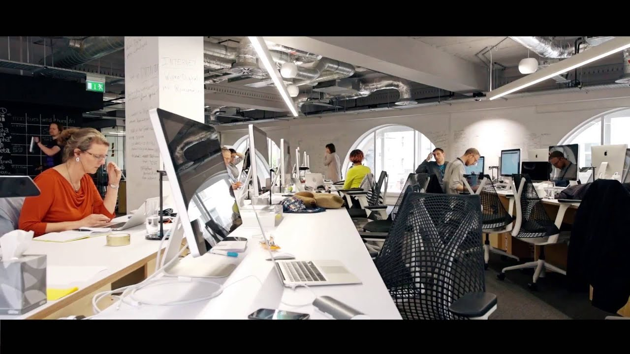 Office design a collaborative tech office in london youtube for Tech office design