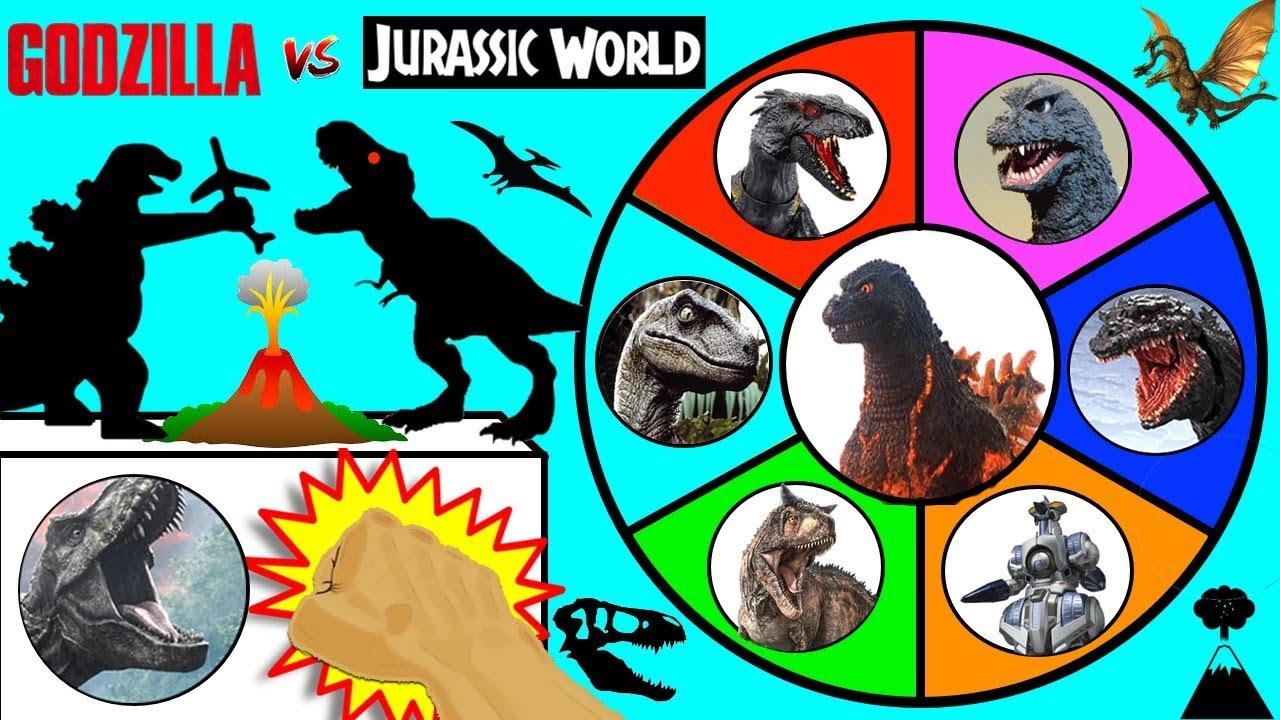 GODZILLA vs JURASSIC WORLD DINOSAURS Slime Wheel Game   Dinosaur Godzilla  Monsters Surprise Toys