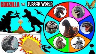 GODZILLA vs JURASSIC WORLD DINOSAURS Slime Wheel Game | Dinosaur Godzilla Monsters Surprise Toys