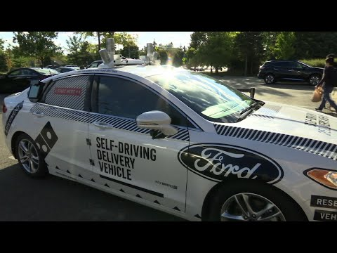 Ford Dominos Test Driverless Pizza Delivery Youtube
