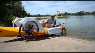 Randy Ridings' quayak: A four-wheel, land/water invention