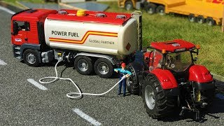 BRUDER TOYS truck tractor action video - TANK truck!   Kids video