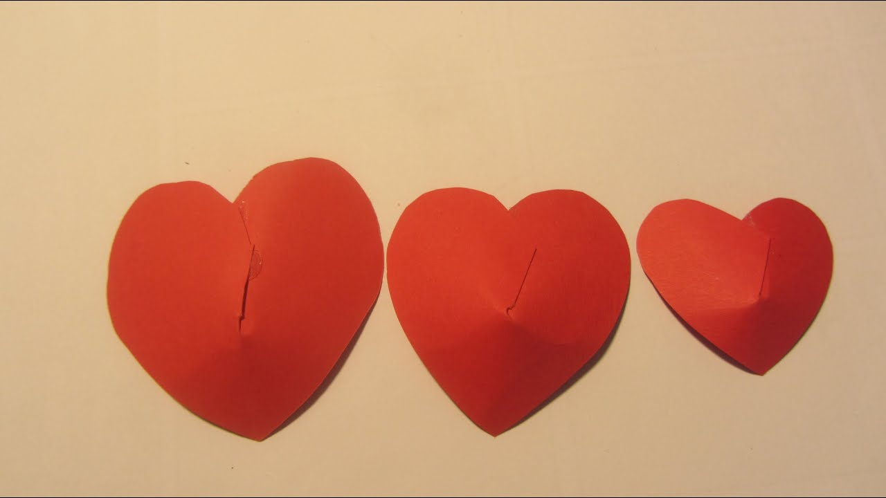 Paper red valentine puffed heart paper crafts youtube jeuxipadfo Gallery