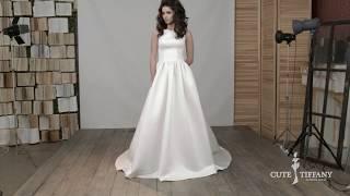Атласное свадебное платье А-силуэт