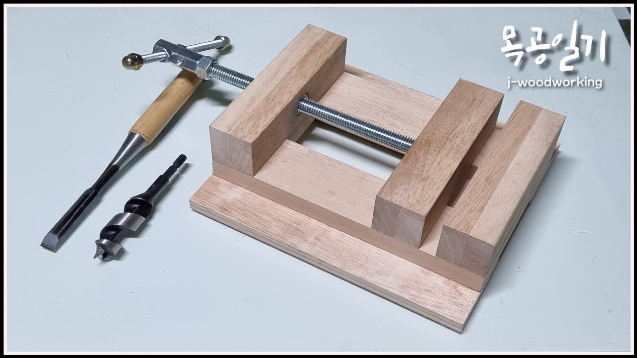 wooden drill press vise / giving a new life to scrap wood [woodworking]   Full Video