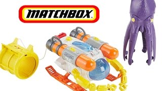 Cargo Submarine by Matchbox Catches Squid - Toy Submarine and Shark Ship toy, Giant Squid toy