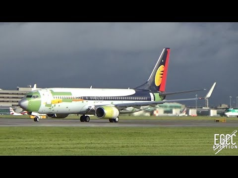 Jet2 737-800 Jet Airways Hybrid Livery Take Off at Manchester Airport