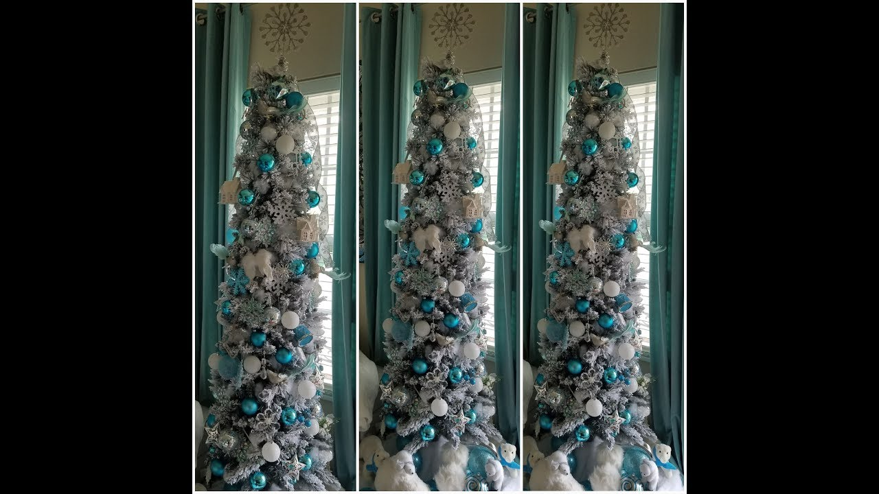 2017 Wal-Mart 7.5 Ft Flocked Slim Christmas Tree Decorated