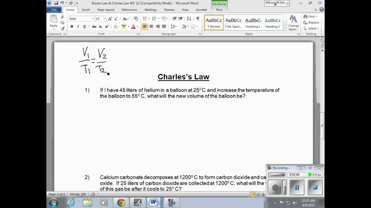 Chemistry Chapter 14 Boyles Law Amp Charles Law Ws Video 1