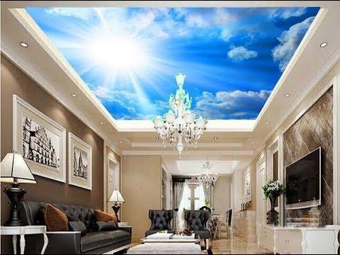 Desain Wallpaper Plafon Ruang Keluarga Motif Awan