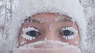 Frozen lashes in Russia create stunning snow selfie