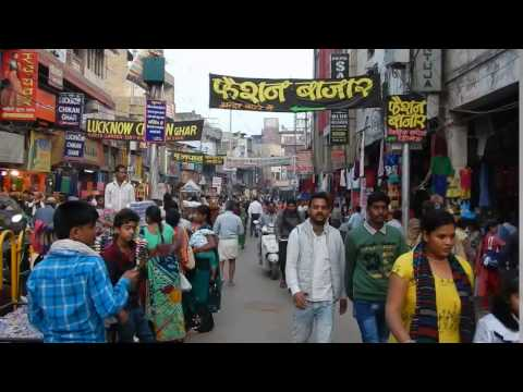 Walking the busy streets of Varanasi