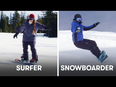 Surfers Try To Keep Up With Snowboarders | SELF