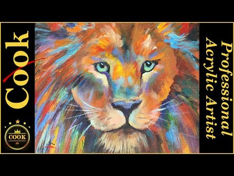 How to paint A  Colorful Lion Portrait  for Beginners