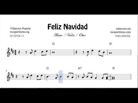 Feliz navidad partitura en re mayor de flautas violines y - Blanca navidad partitura ...