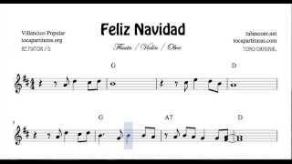 Feliz Navidad Partitura en Re Mayor de Flautas Violines y Oboe Villancico Tono Original con Acordes