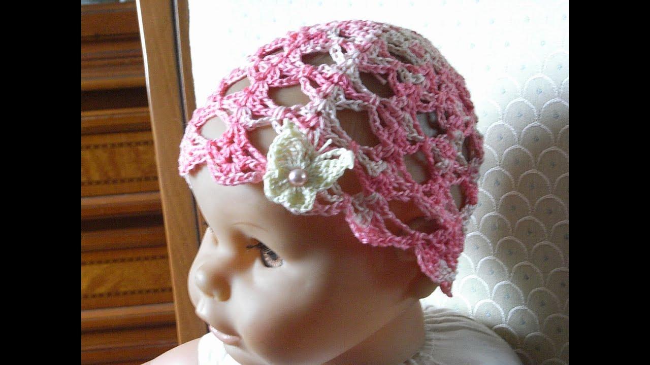Baby Sommer Mütze Häkeln m. Ajourmuster* Baby hat crochet*Tutorial ...