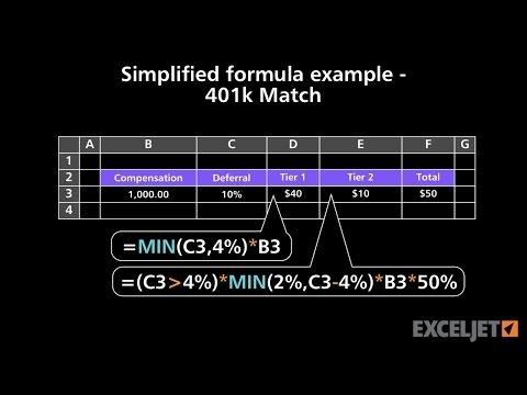 Simplified formula example 401k Match