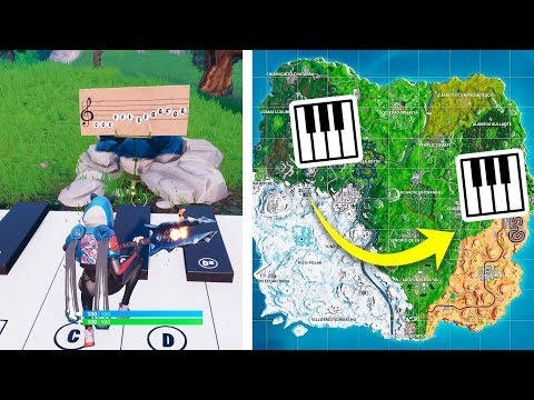 Toca la partitura en los pianos cerca de Parque y Soto Solitario - DESAFÍOS SEMANA 2 DE FORTNITE