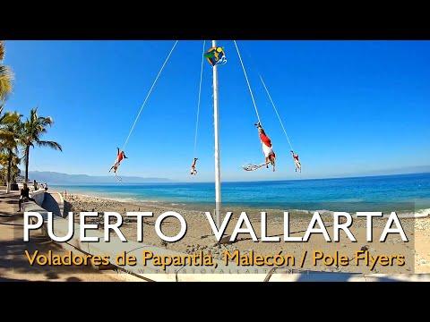 Voladores de Papantla Malecon Puerto Vallarta Jalisco Mexico / Papantla Bird Men Pole Flyers
